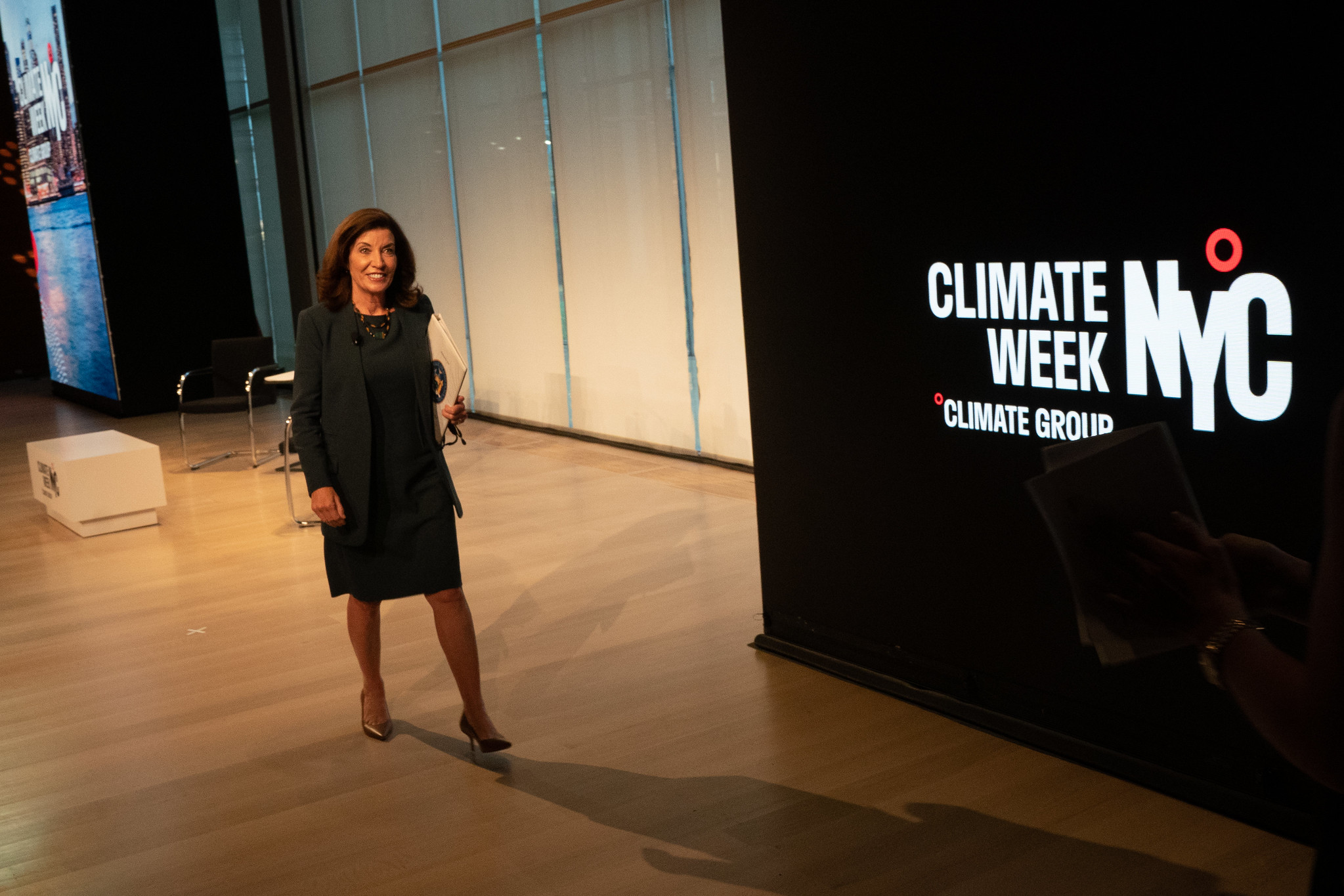 Governor Kathy Hochul after delivering remarks at the Climate Week opening ceremony in New York City.